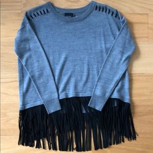 Gray sweater with fringe